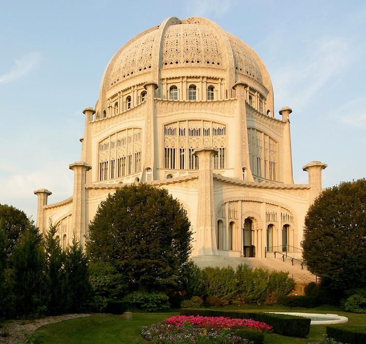 Bahai temple at Wilmette (click here to open a new window with this photo in computer wallpaper format)