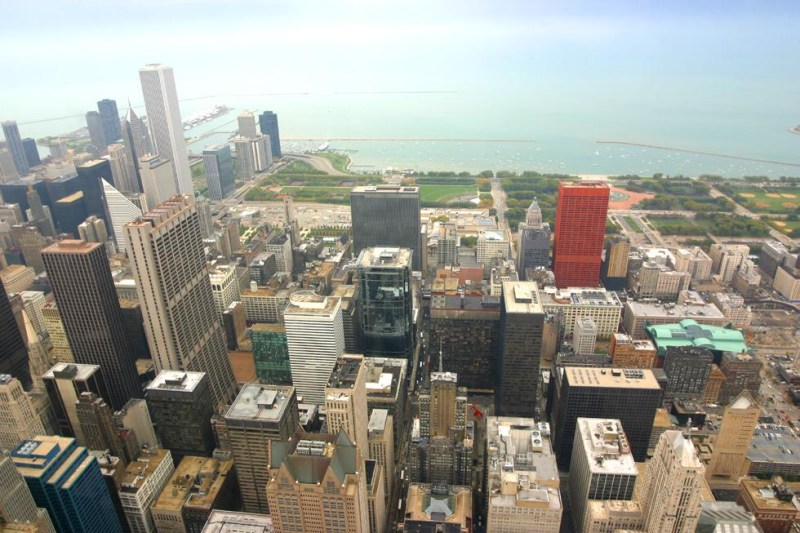 view of downtown Chicago from the Sears Tower observation deck (click here to see this photo with annotations)