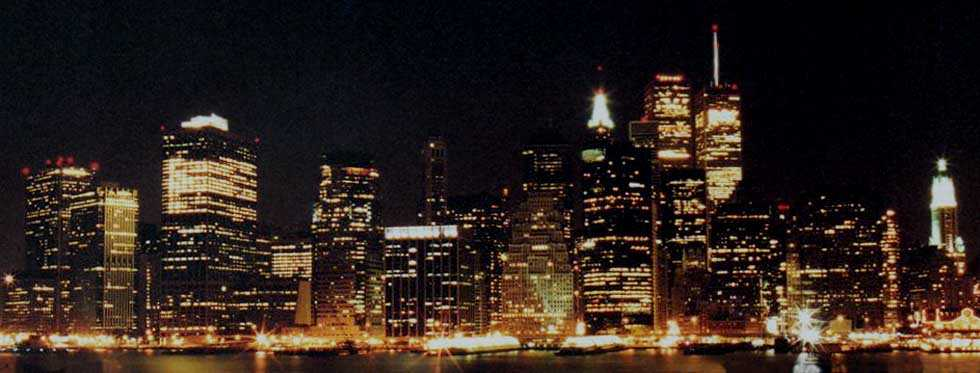 Lower Manhattan at night from Brooklyn Heights